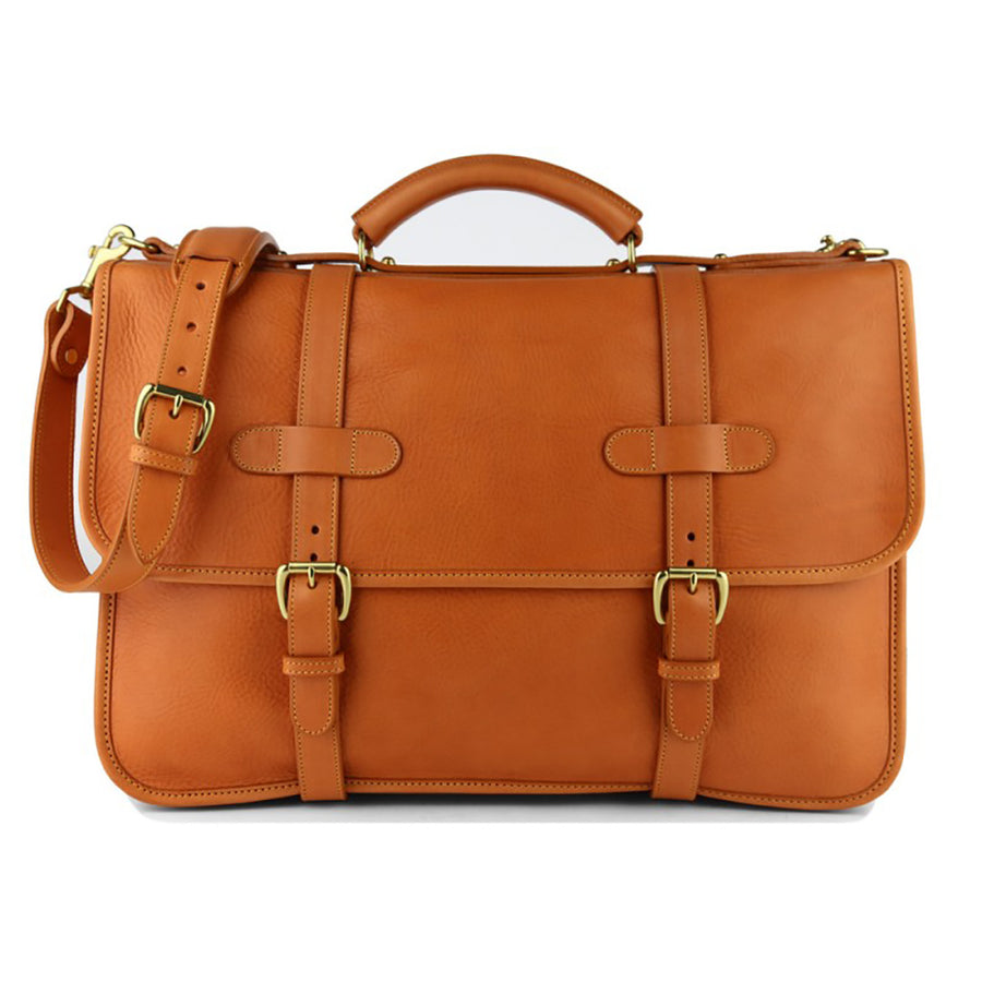 Bound Edge English Briefcase- Tan