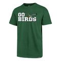 "on the front of the kelly green philadelphia eagles vintage ""go birds"" t-shirt is the philadelphia eagles retro logo with the the words go birds in white"