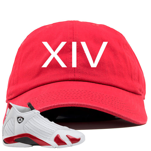 Red and white hat to match Jordan 14 shoes