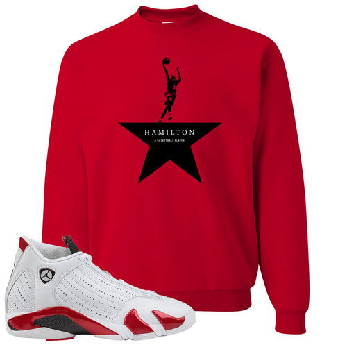 Jordan 14 Rip Hamilton Basketball Star Red Crewneck Sweater