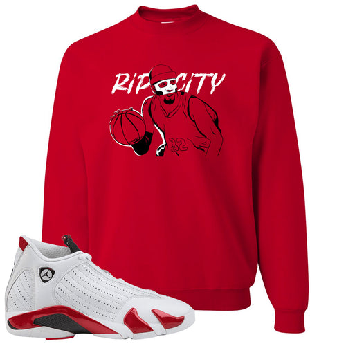 "Jordan 14 Rip Hamilton Richard Clay ""Rip"" Hamilton Red Crewneck Sweater"