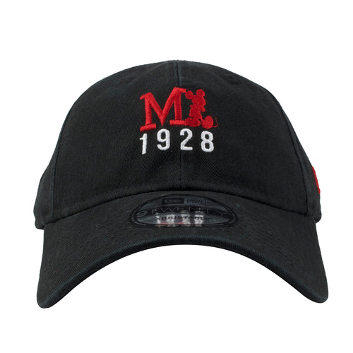Embroidered on the front of the Mickey Mouse 1928 black ball cap is a Mickey Mouse logo in red above the number 1928 in white