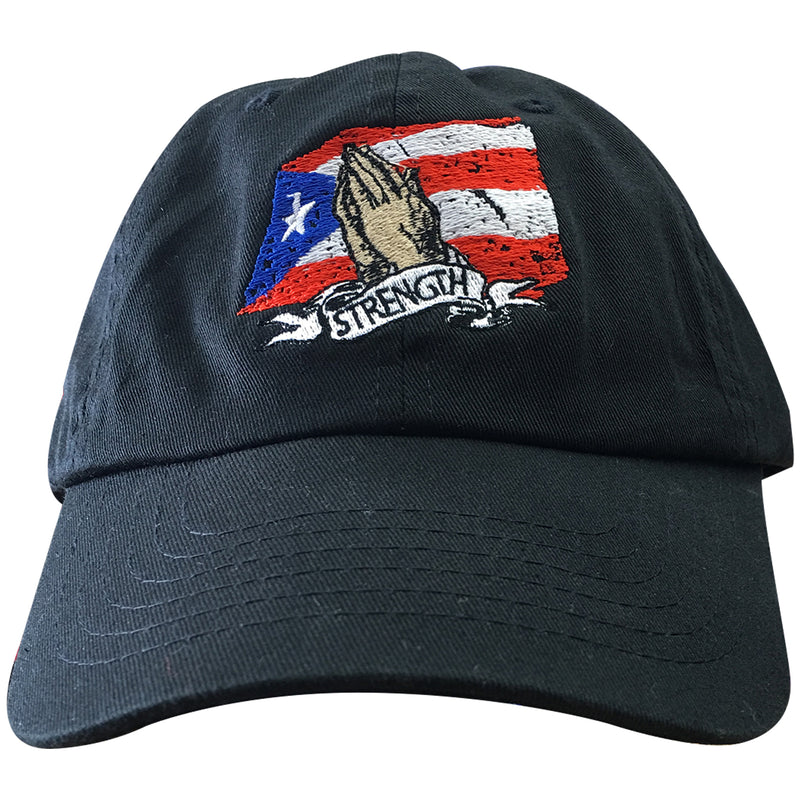 on the front of the puerto rico hurricane maria relief dad hat is  the puerto rican flag, praying hands and the strength banner