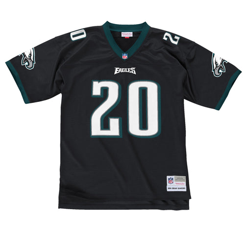The black brian dawkins throwback philadelphia eagles jersey is black, on the front is the eagles wordmark in white and eagles green and the number 20 in white and eagles green