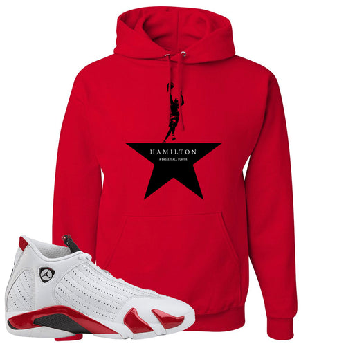 Jordan 14 Rip Hamilton Basketball Star Red Hoodie