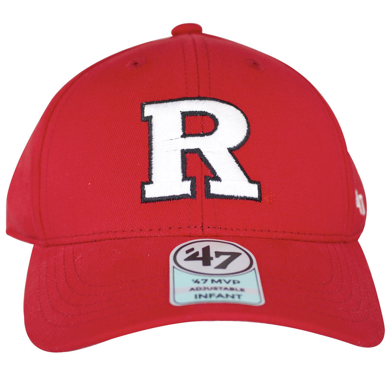 Letter R is embroidered in the front of this red Rutgers Scarlet Knights kids dad hat, outline with black threading. The brim of this Rutgers hat is bent.
