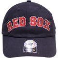 the boston red sox ball cap is navy blue with the red sox wordmark arched with red rhinestones