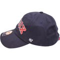 on the left side of the boston red sox womens rhinestone ball cap is the 47 brand logo
