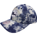 the Philadelphia 76ers acid wash denim dad hat has a bent brim and a soft crown