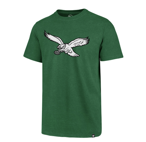 This is the front view of the Philadelphia Eagles Vintage Retro Bird Logo Kelly Green T-Shirt.