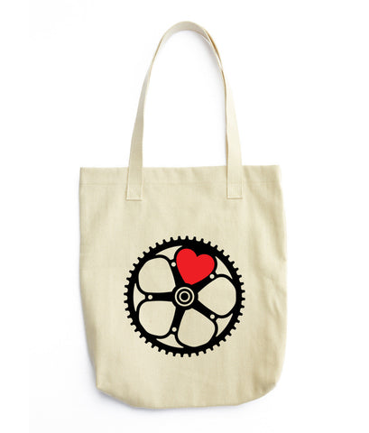 black chainring tote bag