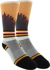 KURB SOCKS MENS CREW PANORAMAN WHITE