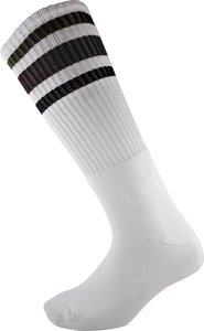 SOCCO KNEE HIGH WHT/BLK SOCKS (9-12)1pair
