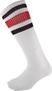 SOCCO KNEE HIGH WHT/RED/BLK SOCKS (9-12)1pair
