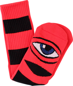 TOY MACHINE SECT EYE BIG STRIPE CREW SOCKS-RED 1pr