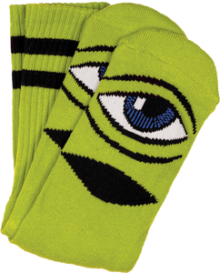 TOY MACHINE SECT EYE III CREW SOCKS-GREEN 1 pair