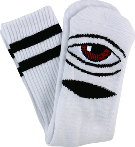 TOY MACHINE SECT EYE III CREW SOCKS-WHITE 1 pair