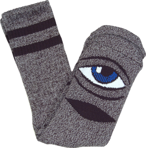 TOY MACHINE SECT EYE HEATHER CREW SOCKS-GREY 1pr