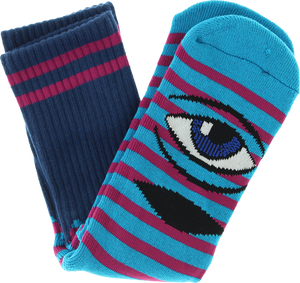 TOY MACHINE SECT EYE STRIPE CREW SOCKS-AQUA NAVY/PURPLE