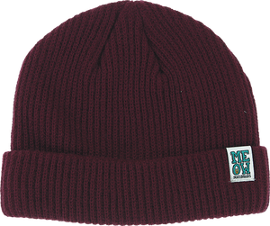MEOW STACKED LOGO CUFF BEANIE MAROON