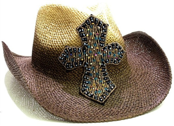 Brown Natural Beaded Cross Olive & Pique Cowboy Formable Cowgirl Hat