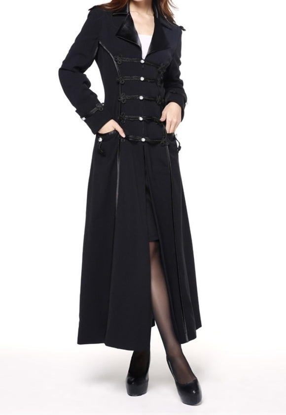 Black Military Style Long TR Fabric Coat Vintage Plus Size