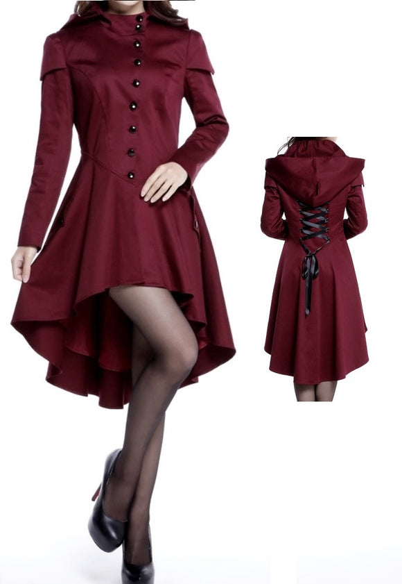 Burgundy Victorian Hooded Corseted Coat Gothic Steampunk Plus Size