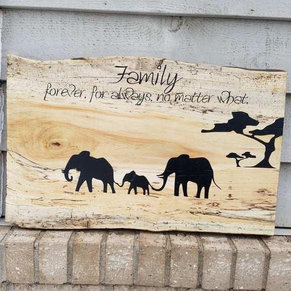 Elephant Family Forever For Always No Matter What Handcrafted Raw Edge Spalted Box Elder Wood Wall Art Sign Home Decor Spalted Box Elder Inspirational
