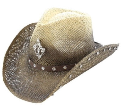Olive and Beige Fleur De Lis Unisex Cowboy Cowgirl Hat Rhinestones Formable