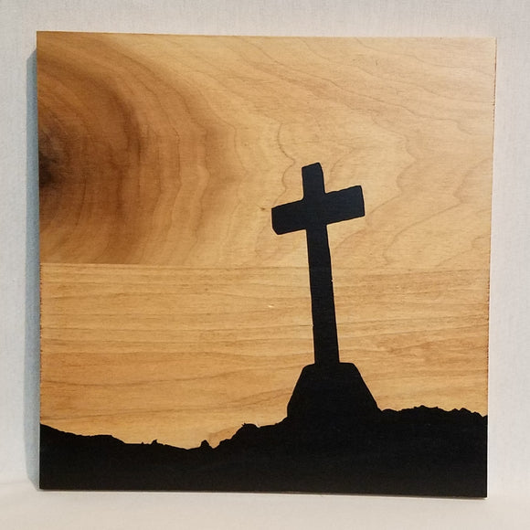 Resurection Cross Jesus Silhouette Art Wood Wall Sign Home Decor Rustic Country