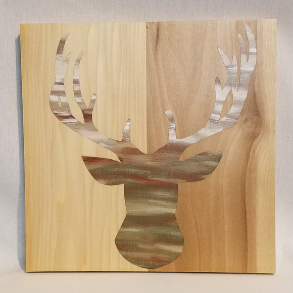 camo deer head wood wall art natural cabin forest animal sign home decor cabin