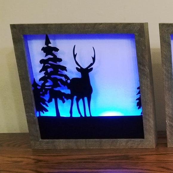 Deer Wildlife Framed Picture Silhouette Lightbox Unique Gift Country Life Woods Forest Home Cabin Hunting Home Decor
