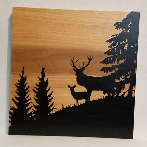 deer silhouette forest wood wall art sign home decor rustic cabin hunting