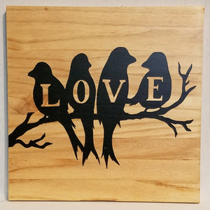 love birds wall art wood sign home decor pine