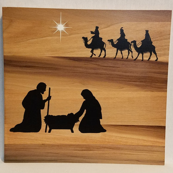 Wood Wall Art Sign Nativity Christ Born wisemen Christmas Holiday Gift Lord Come Let Us Adore Him Wood Sign Jesus