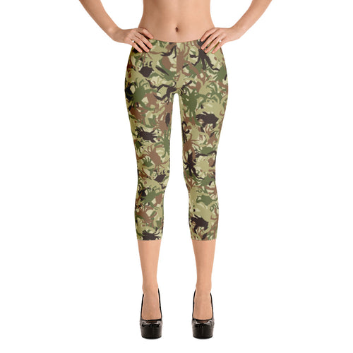 Green Crab Camo Capri Leggings