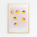 Le Riquiqui riso art print lolly drop colour A3 australia