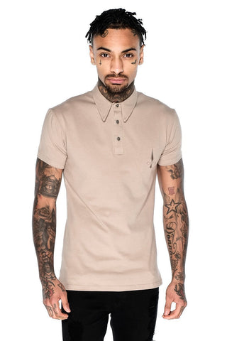 Mens Judas Sinned Short Sleeved Jersey Polo Men's Jersey Polo Shirt - Caramel (SHIRT) - Judas Sinned Clothing