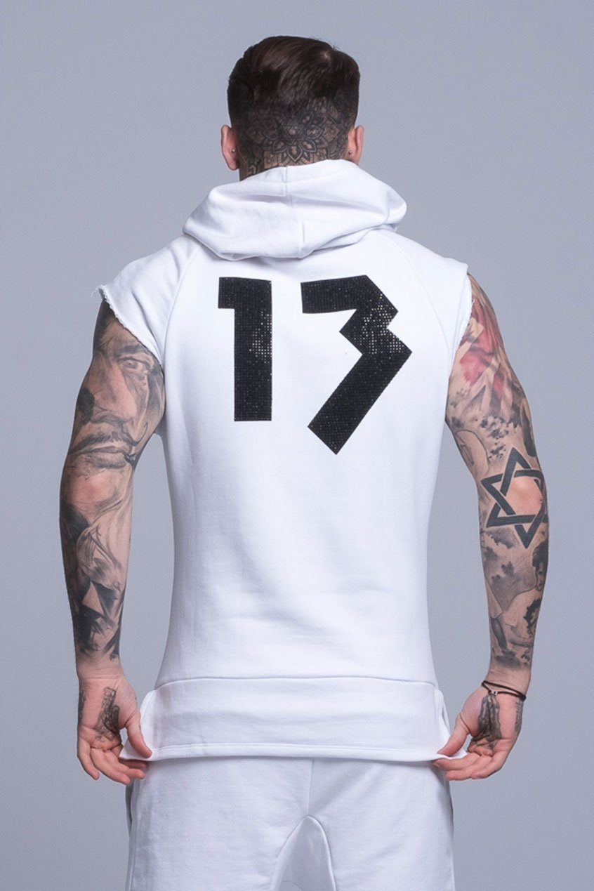 Mens Judas Sinned Sleeveless Cut Off Rep Men's Hoodie - White (HOODIE) - Judas Sinned Clothing