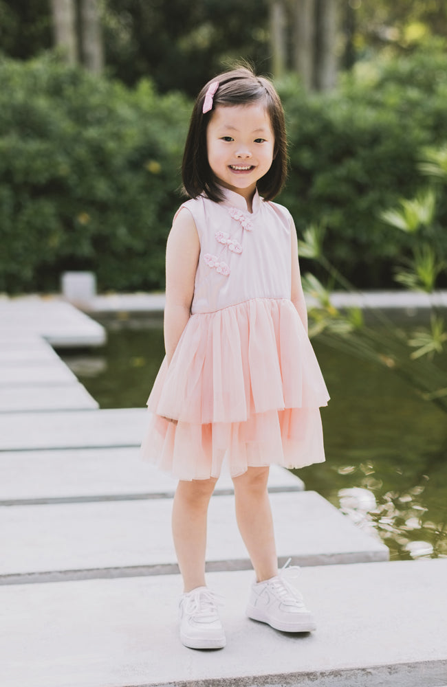 Little Bows Tunic Cheongsam Dress - Pink