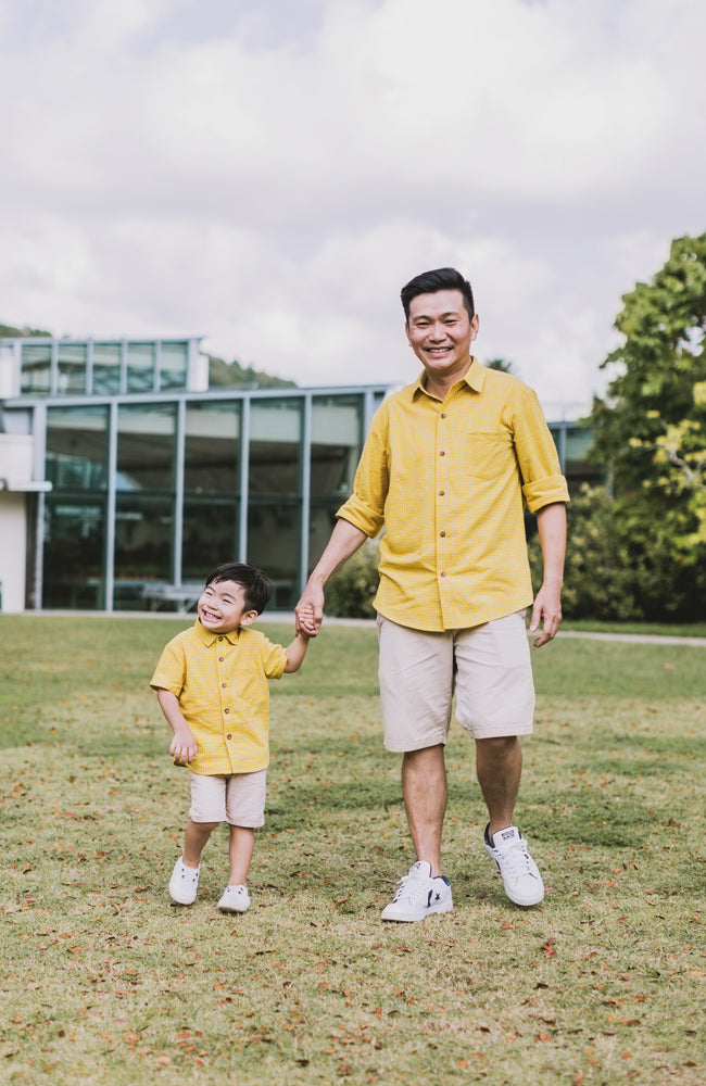 Checkered Button Down Shirt - Yellow (Daddy)