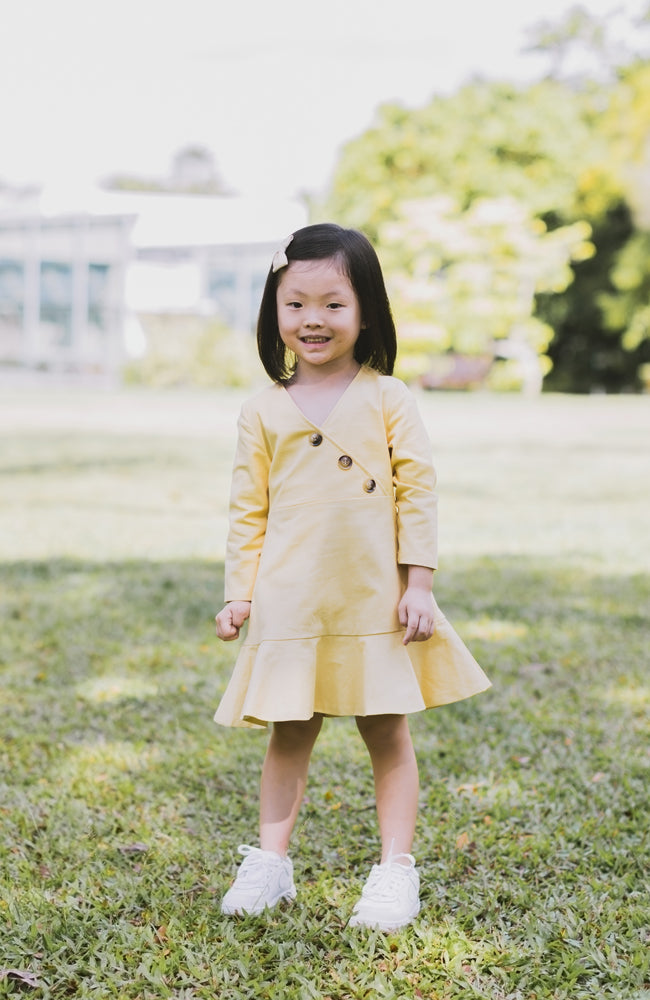 Button Flounced Dress - Yellow
