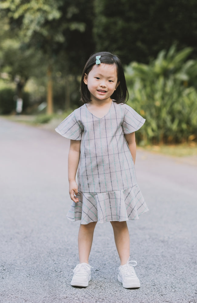 Checkered Flounced Dress - Green