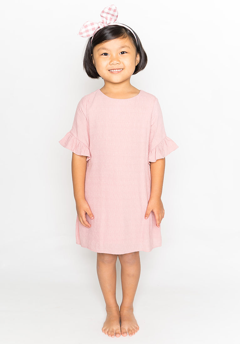 RUFFLED SLEEVES DRESS - PINK