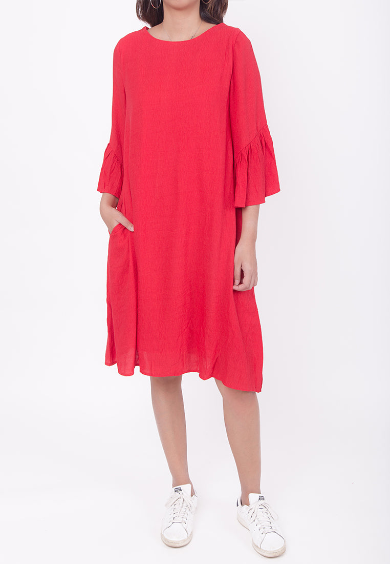 RUFFLED SLEEVES DRESS - RED (MOMMY)