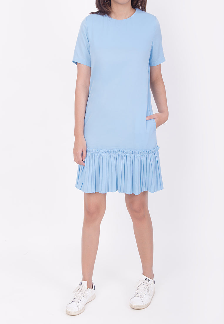 RUFFLED HEM DRESS - BLUE (MOMMY)