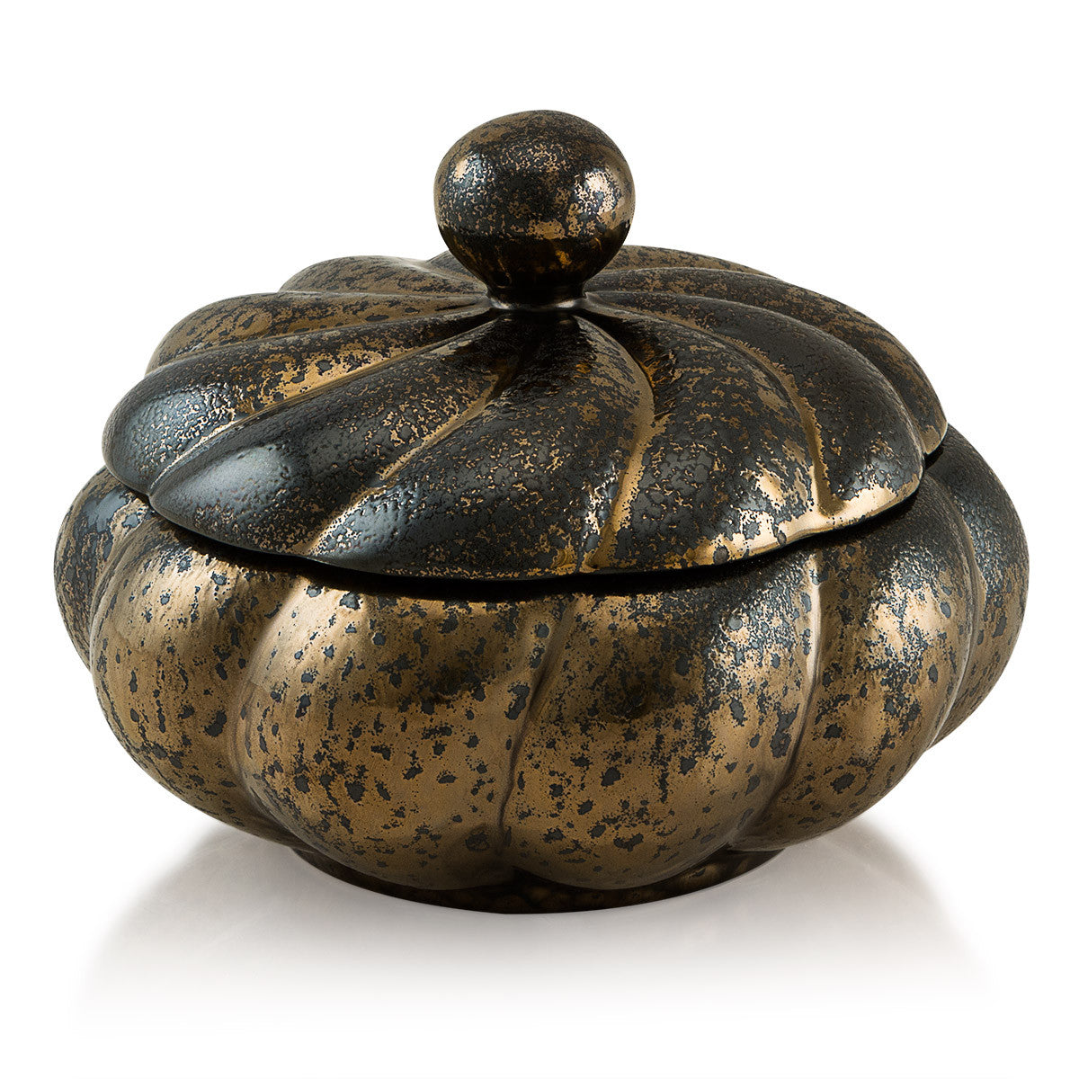 Ceramic twisted box in burnished bronze finish