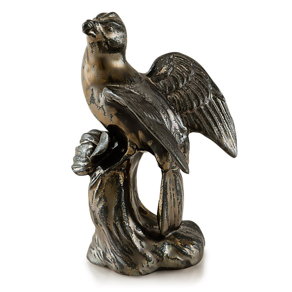 Ceramic bird eating a berry in burnished bronze finish
