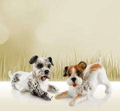 Ceramic terrier dogs statue
