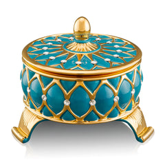 Ceramic box | Venice turquoise and gold